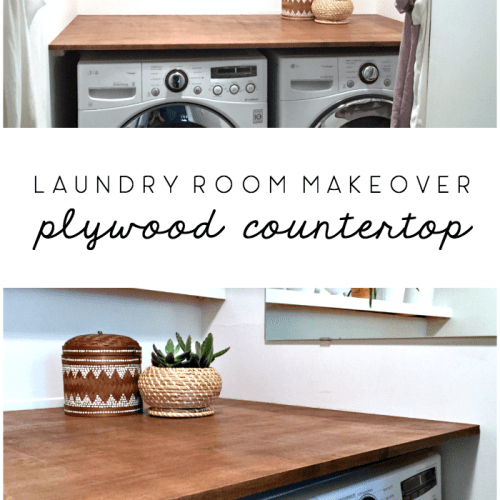 laundry room makeover diy plywood countertop