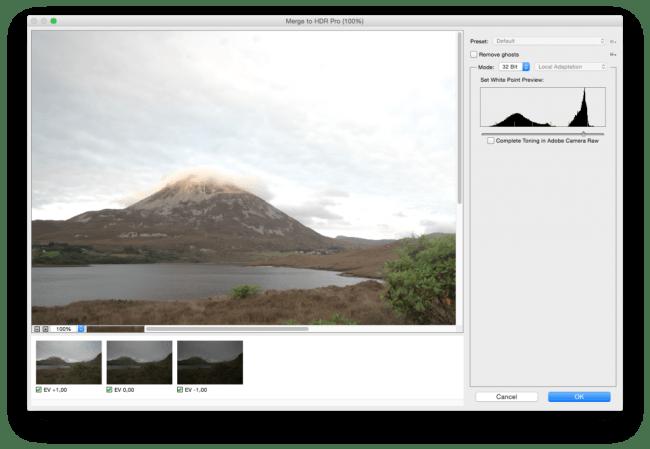 Merge to HDR Pro dialog