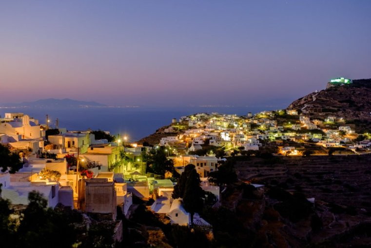 A view of Kastro at night, Sikinos