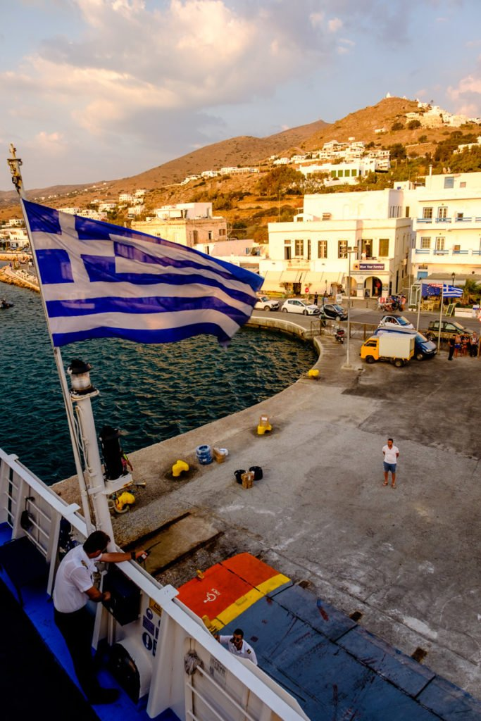 The port of Ios, Greece, from the back of a ferry boat