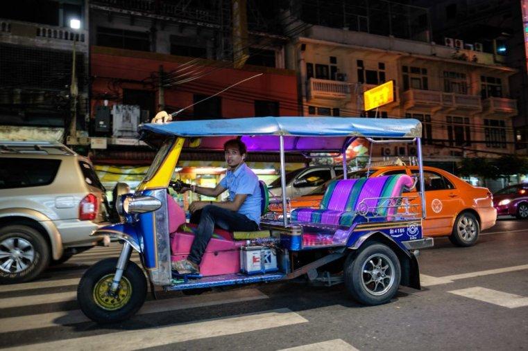 A tuk-tuk on Yaowarat Road, Chinatown, Bangkok