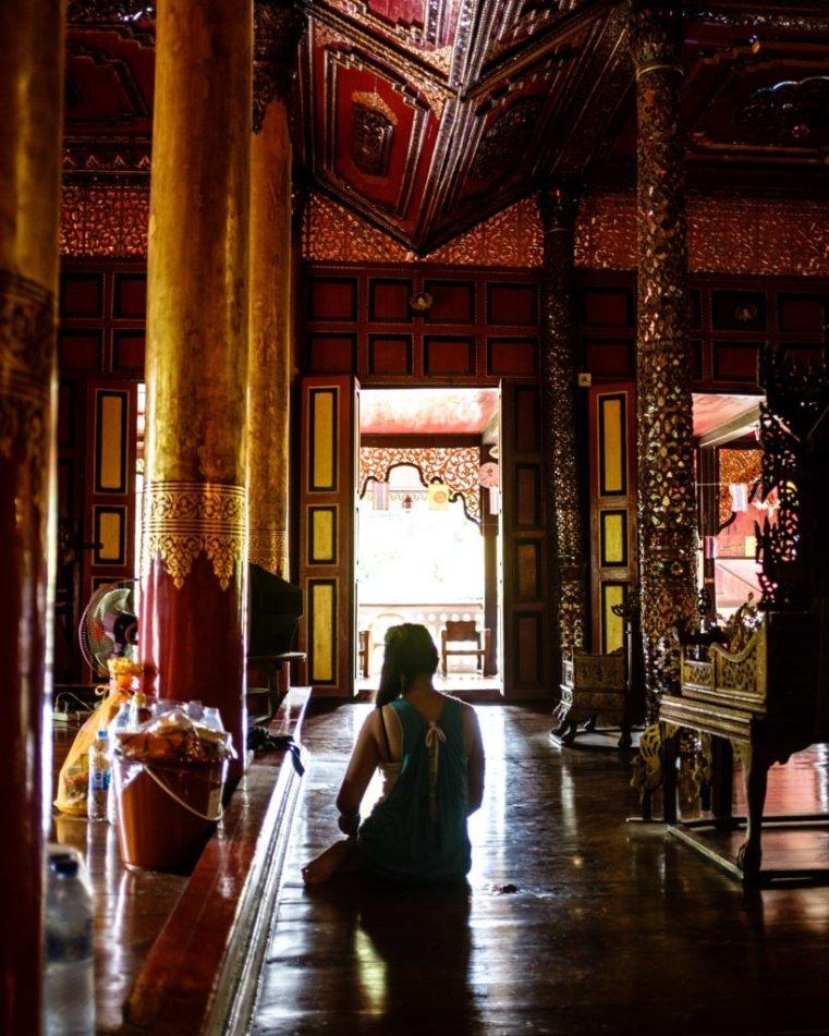 Praying in a temple in Lampang