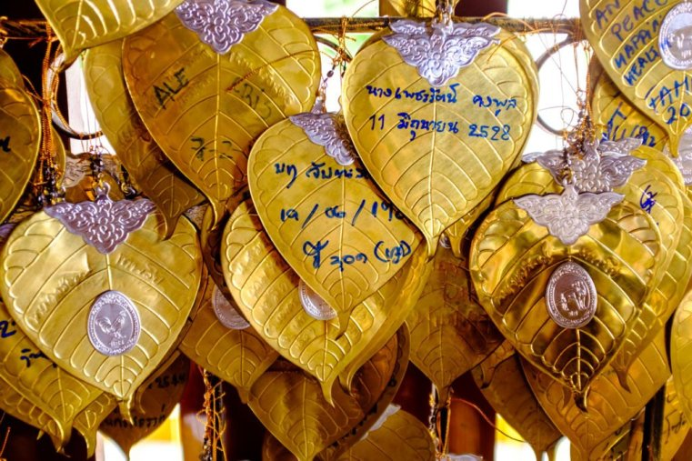 Votive golden leaves, Chiang Mai, Thailand