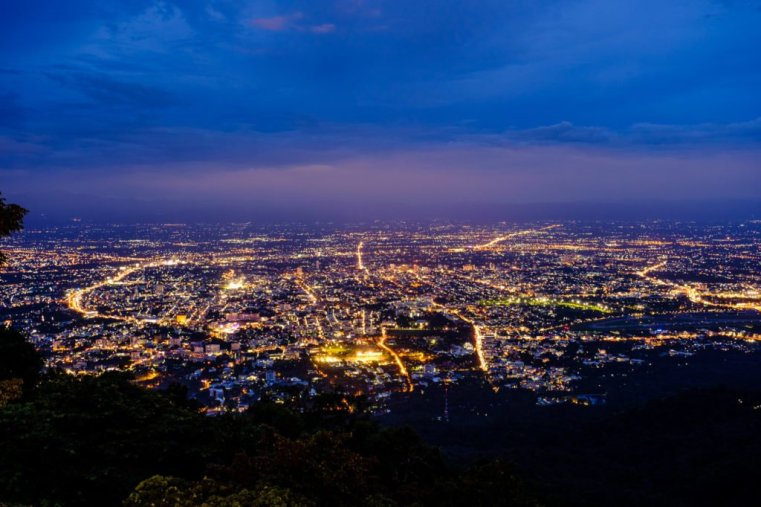 Chiang Mai at night from Doi Suthep, Thailand