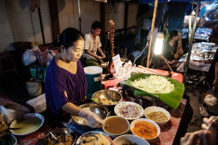 At the Sunday night market in Chiang Mai, Thailand