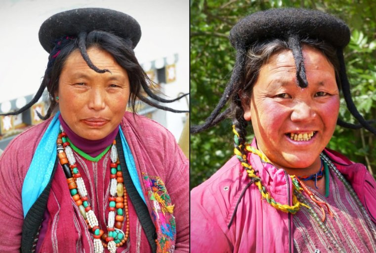 "Brokpa semi-nomadic pair, East Bhutan. The Brokpa came over the high Himalayas from Tibet. Note the distinctive ""shamo"" head-gear from woven yak fur, with downpipes"