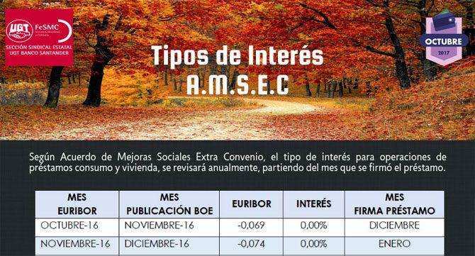 Tipos de Interés A.M.S.E.C. de Octubre 2017
