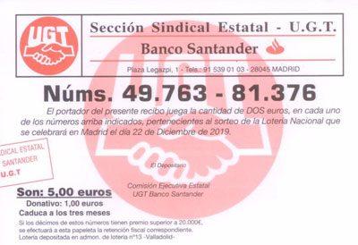 IMPORTANTE: Quedan anuladospor extravíolas participaciones nº 04596 y 04597 de los números de lotería 49.763 - 81.376