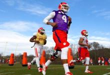 Mar 3, 2015; Clemson, SC, USA; Clemson Tigers quarterback Deshaun Watson (4) works out with the team during spring practices. Mandatory Credit: Joshua S. Kelly-USA TODAY Sports