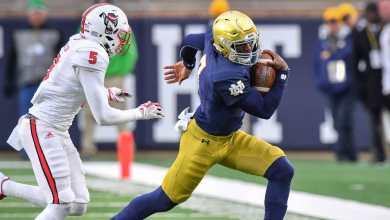 Notre Dame QB Brandon Wimbush in action vs. NC State
