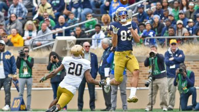 Notre Dame WR Chase Claypool in action in the 2018 Blue-Gold game