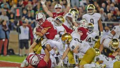 Stanford scores one of three 4th quarter TDs against Notre Dame in 2017.