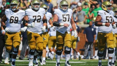 Robert Hainsey (72) and the rest of the Irish OL have a tough matchup this weekend.