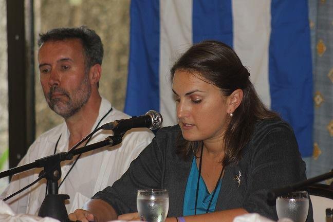 La Sra. Anna Lisne Domansky, segunda Secretaria de la Embajada de Canadá en Cuba, en apertura del Seminario. Fotos: Dirección de Comunicación Institucional.