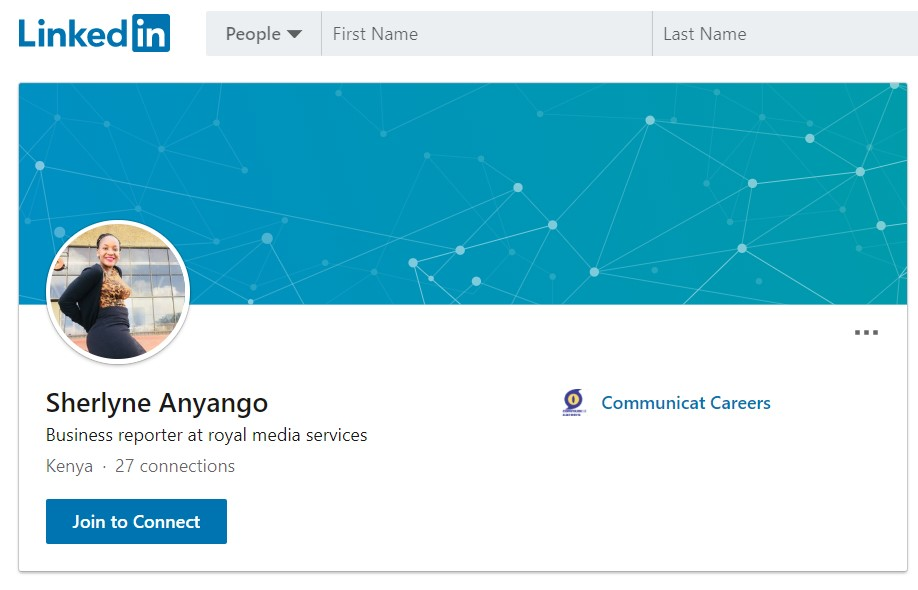 Sherlyne Anyango's PUBLIC LinkedIn profile where she lists her employer as Royal Media Services