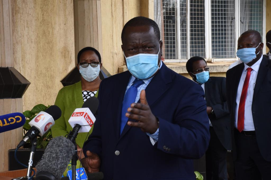 CS Matiang'i addressing the press from the Kenya Meteorological Department offices in Nairobi
