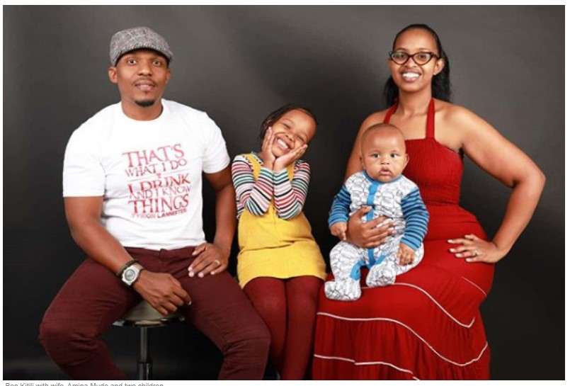 Ben Kitili with ex-wife, Amina Mude and their two children