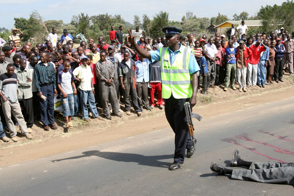 FILE photo of a past shoot out incident between Kenyan cops and a group of dangerous thugs