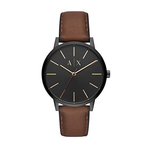 Armani Exchange Herren Analog Quarz Uhr mit Leder Armband AX2706