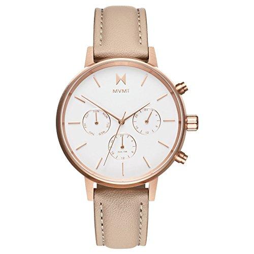 MVMT Damen Chronograph Quarz Uhr mit Leder Armband D-FC01-RGNU