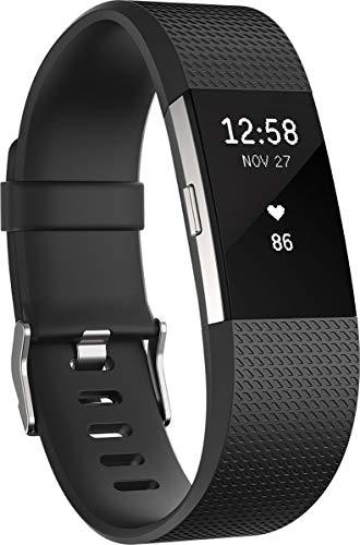 Fitbit Standard Charge 2 Unisex Armband Zur Herzfrequenz Und Fitnessaufzeichnung, Schwarz, L, FB407SBKL-EU