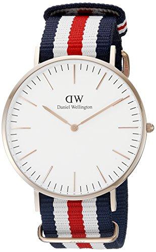 Daniel Wellington Herren-Armbanduhr XL Canterbury Analog Quarz Nylon DW00100002,RoseGold