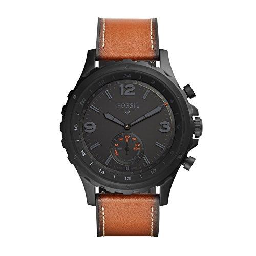 Fossil Herren Hybrid Smartwatch Q Nate - Leder - Dunkelbraun | Analoge Herrenuhr im klassischen Vintage Stil mit Smartfunktionen | Für Android & iOS