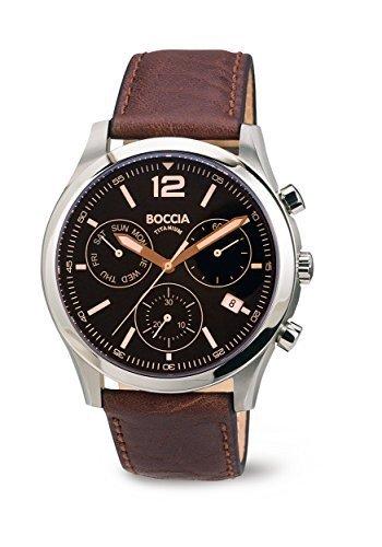 Boccia Herren-Armbanduhr Chronograph Quarz Leder 3757-01