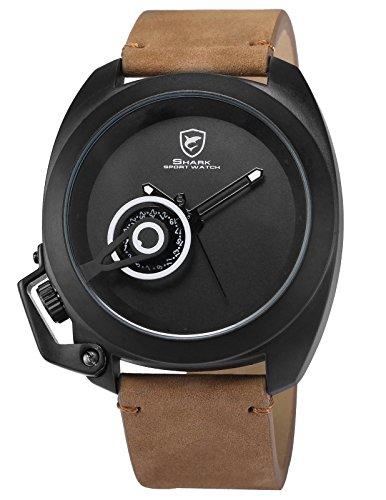 Shark Herren Analog Armbanduhr Braun Pferdeleder SH451