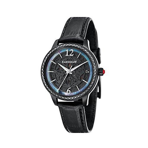 Thomas Earnshaw Damen Skeleton Automatik Smart Watch Armbanduhr mit Leder Armband ES-8064-03