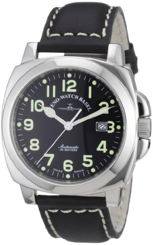 Zeno Watch Basel Herren-Armbanduhr XL Carre' OS Pilot Analog Automatik Leder 3554-a1
