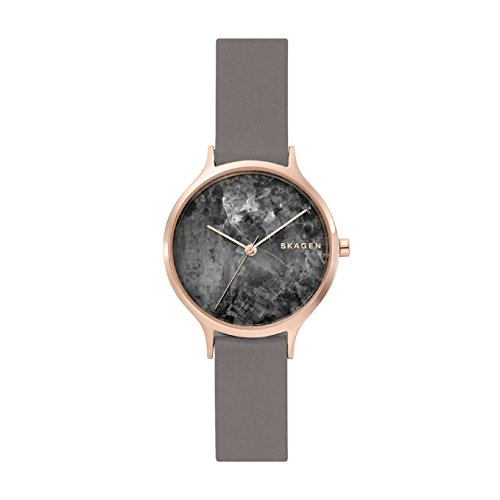 Skagen Damen Analog Quarz Uhr mit Leder Armband SKW2672