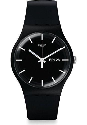 Swatch Herren-Armbanduhr Analog Quarz One Size, schwarz, schwarz