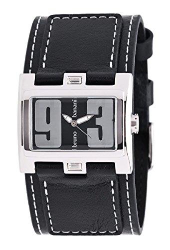 Bruno Banani BR25921Damen Armbanduhr, Lederband schwarz