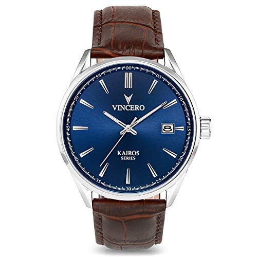 Montre bracelet de luxe Vincero Kairos pour homme — Cadran bleu avec bracelet en cuir marron - 42mm montre analogique - Mecanisme quartz japonais