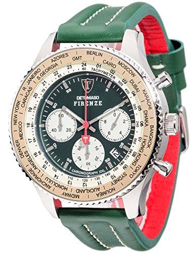 DETOMASO FIRENZE XXL Herren-Armbanduhr Chronograph Analog Quarz grünes Lederarmband grünes Zifferblatt DT1045-B