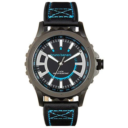 Bruno Banani Herrenuhr Meros Leder-Armband schwarz Quarz-Uhr Ziffernblatt schwarz D1UBR30021