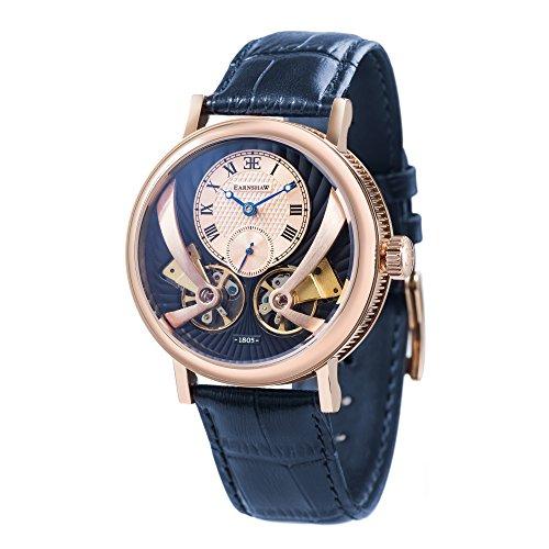 Thomas Earnshaw Beaufort Anatolia ES-8059-05 mechanische Herren-Armbanduhr mit Automatikgetriebe, blaues Zifferblatt mit klassischer Analoganzeige, blaues Lederarmband