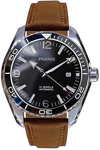 PARNIS 2182 Automatikuhr MIYOTA Uhrwerk Herren-Armbanduhr 45mm Edelstahl-Gehäuse Keramiklünette Saphirglas Wildlederarmband Faltschließe