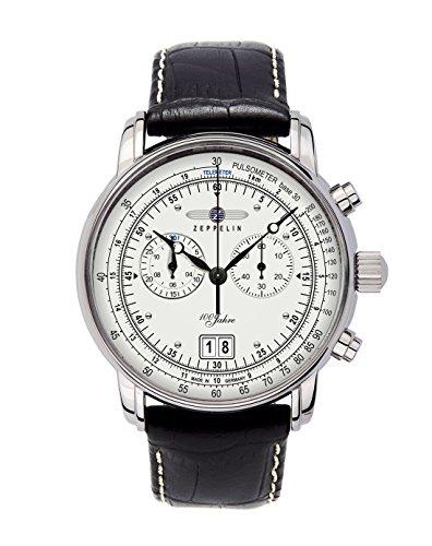 Zeppelin Herrenuhr Chronograph Quarz mit Lederarmband – 76901