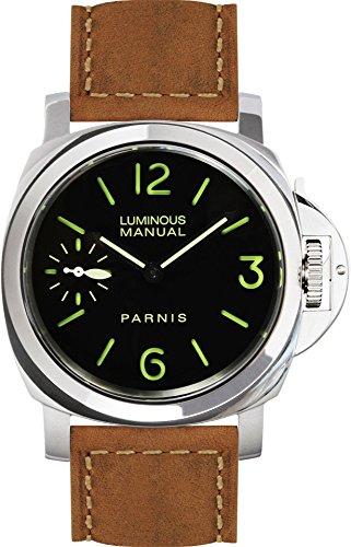 PARNIS 9074 Klassische Handaufzugsuhr 44mm Mechanische Herren-Armband-Uhr Saphirglas Edelstahl Wildlederarmband Seagull ST36 Markenuhrwerk