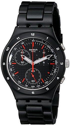 Swatch Unisex-Armbanduhr Black Coat Chronograph Quarz Edelstahl YCB4019AG