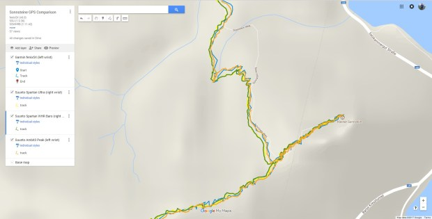 Screenshot of detail from the Google (My) Maps map above, showing GPS tracks from four different watches at the Sonnsteine trail in Upper Austria
