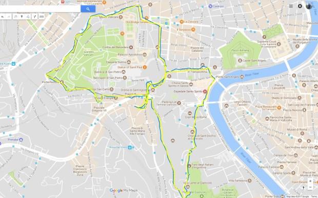 Screenshot mit Überblick des Morgenlaufs in Rom aus der oben eingebetteten Google (My) Maps-Karte