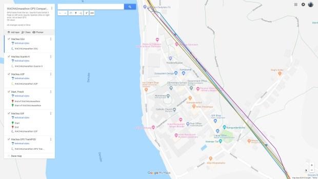 GPS-Tracks beim Lauf durch den Tunnel in Dürnstein