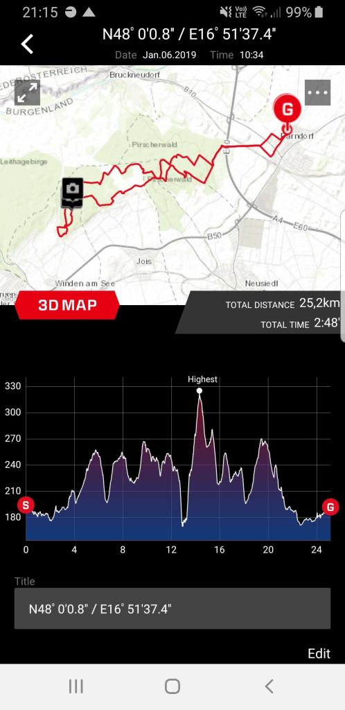Casio Connected App Display of a Recorded Route/Track