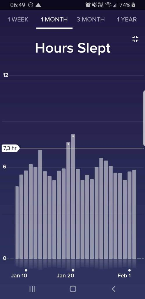 Fitbit App Überblick über Schlafdaten (Dauer) in Fullscreen