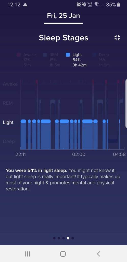 Fitbit App Sleep Stages Full Screen View, Light Sleep Time