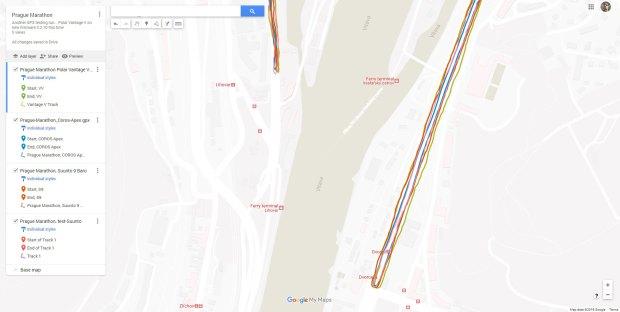 180-Grad Wendungen beim Prag-Marathon. Saubere Kurven, keine geschnittenen, von allen Uhren...