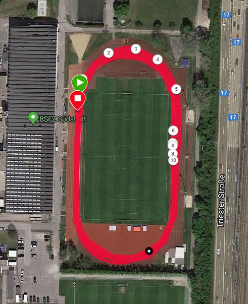 400 m Track Running as Shown in Garmin Connect (with Lap Markings)